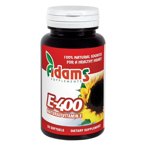 Vitamina E 400 naturala 30 capsule Adams Supplements imagine produs la reducere